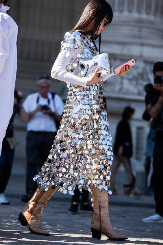 EMBELLISHED DRESS STREET STYLE