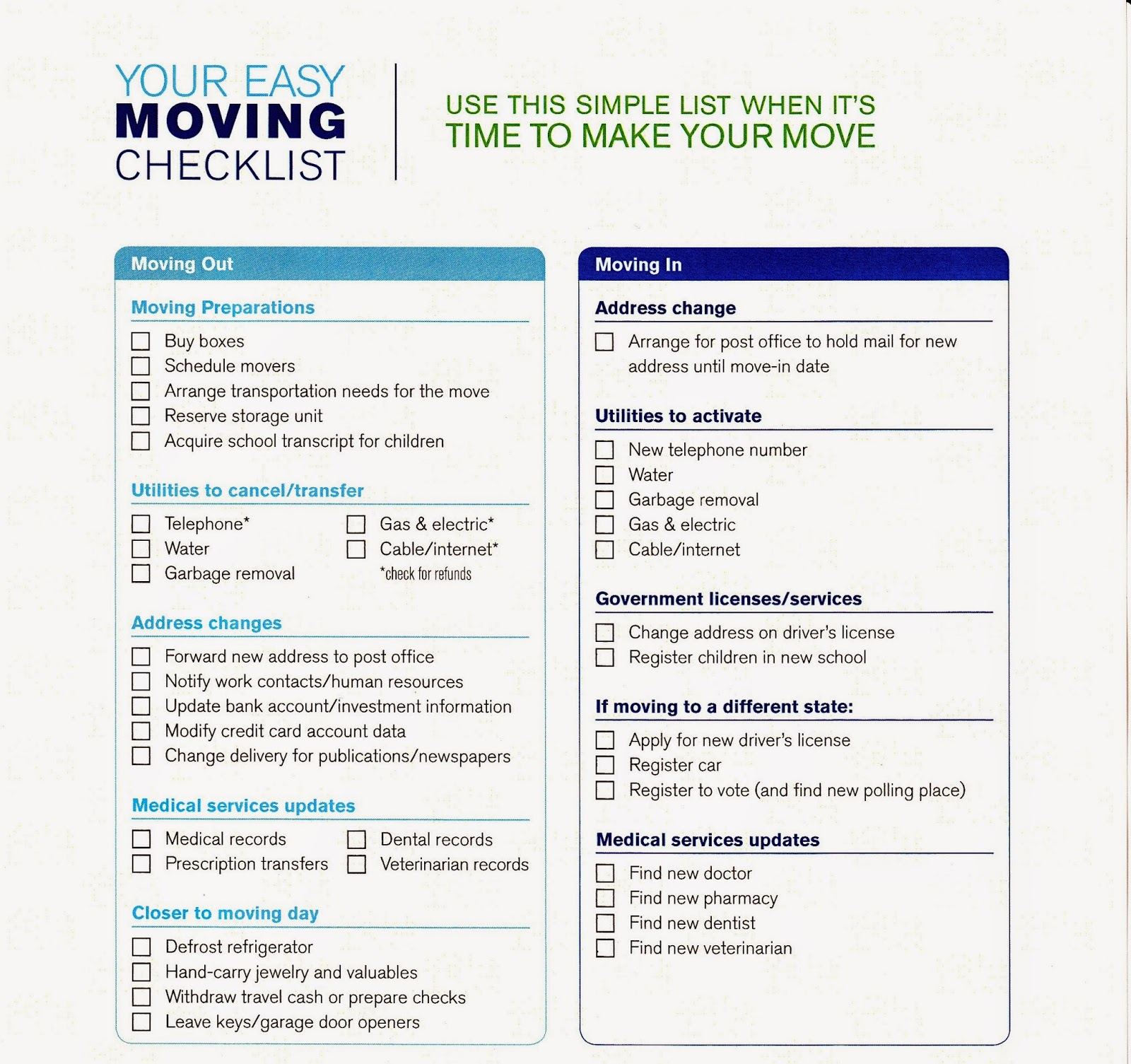 photo regarding Printable Moving Checklist known as Clean Household List Of Variables Expected