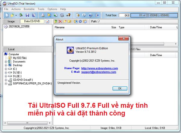 Download UltraISO 9.7.6 Full về máy tính miễn phí và cài đặt thành công a