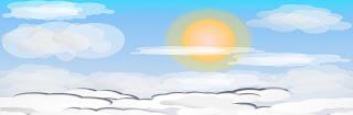 ilustracion videojuego cielo de mañana con nubes y sol