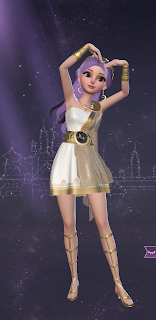 Helen in a gold and white Valkyrie dress with lavender hair
