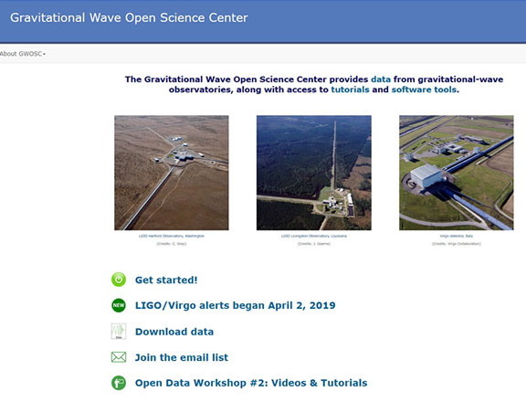 Gravitational Wave Open Science webpage (Source: https://www.gw-openscience.org/about/)