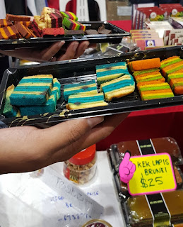 Unusual foods included lapis cake from Brunei - Kek Lapis Brunei - in unusual flavours like mint.