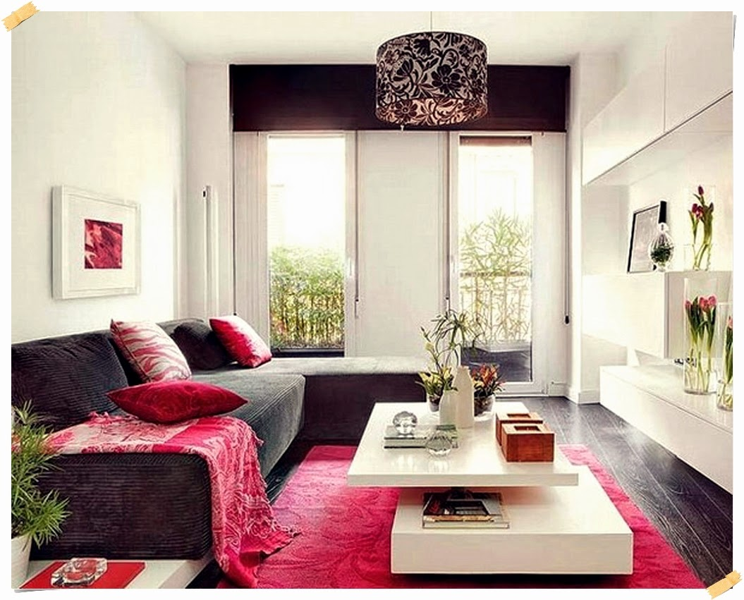 Sweet Living Room For Apartment With Pink Theme Of The Rug On Black Floor