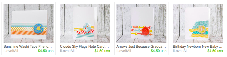 iloveitall.etsy.com | Washi Tape Cards
