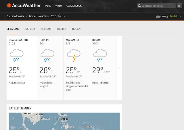 Detail cuaca hari ini