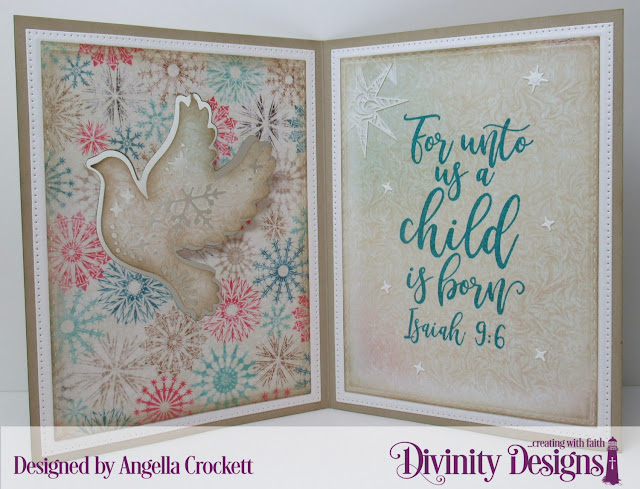 Divinity Designs LLC: Keep Christ, Christmas Dove Dies, Inspiration Words Dies, Pierced Rectangles Dies, Double Stitched Rectangles Dies, Double Stitched Pennant Flags Dies, Pennant Flags Dies, Christmas Paper Collection 2014; Card Designer Angie Crockett