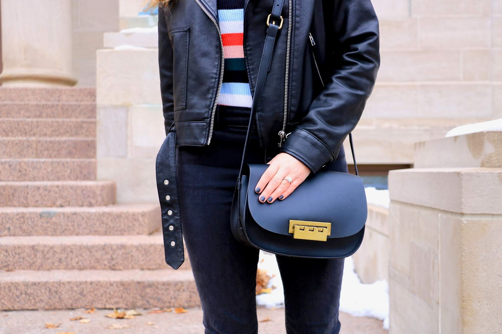 Nyc fashion blogger Kathleen Harper wearing a black Zac Posen crossbody purse.