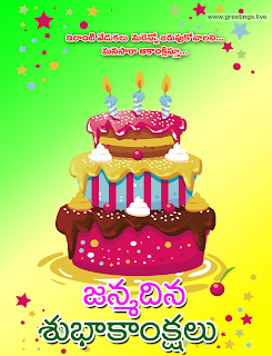 "Telugu Birthday Greetings image contains ""janmadina subhakankshalu"" happy birthday wishes in Telugu"