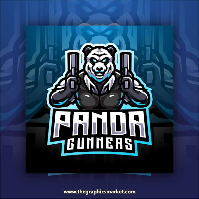 panda gaming logo design vector free download,
