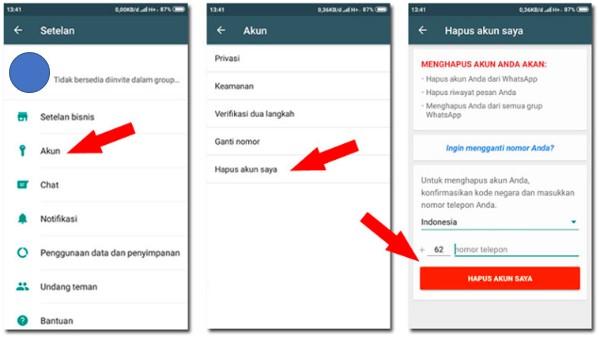 Cara Menghapus Akun WhatsApp Secara Permane