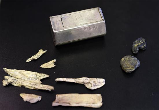 Caixa de prata de Jamestown os EUA - Conteúdo