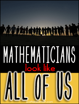 A couple years ago, I realized that whenever I would talk about the mathematicians who created the math we were doing in class, there were a lot of similarities in the people that I was displaying on the board. In my class, no two students were alike. But every mathematician I was displaying looked the same. The following year, after my students took their end of year exam, I decided to spend the last few weeks of school doing a mathematician project. For this project, I had the students pick from a list of mathematicians that I gave them, fill out a bio sheet, and make a presentation. They got bonus points if they dressed up and presented as their mathematician of choice. I've enjoyed learning about mathematicians from around the world. I hope that by sharing with my friends, who share with their friends, and by the people who find me through my hashtag, that people will start to see that mathematicians look like all of us. It is not a field set aside just for European men in powdered wigs. Mathematicians come from all centuries, all countries, and all socioeconomic backgrounds. Mathematicians really do look like all of us!