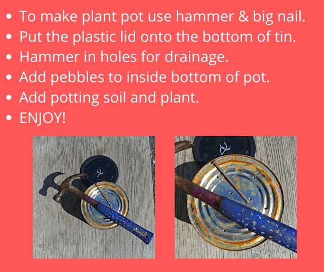 Hammer & nail holes in pot bottom for planters.