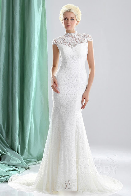 http://www.cocomelody.com/sheath-column-ivory-court-train-high-neck-lace-wedding-dress-cwzt13005.html