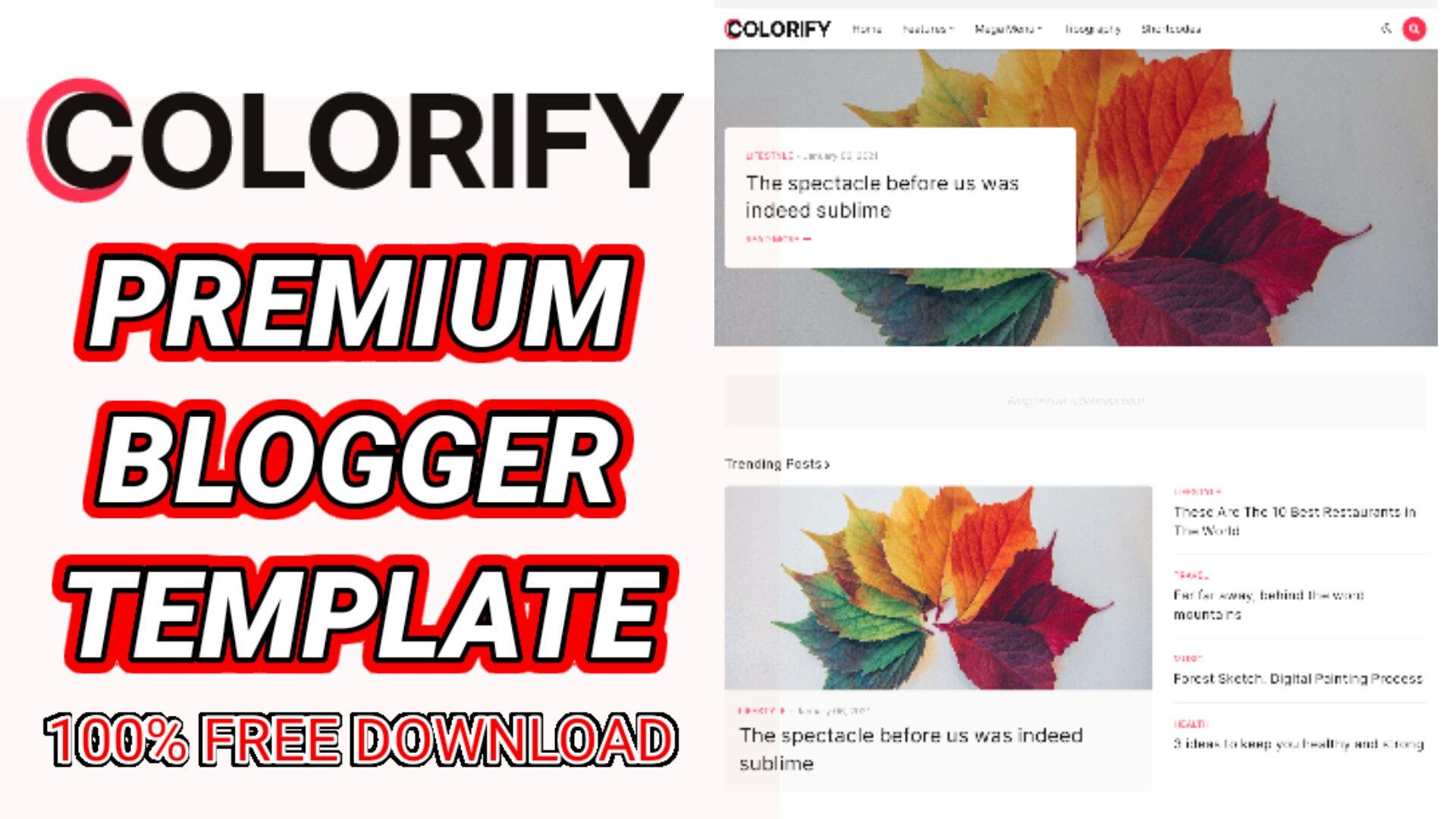 Colorify Premium Creative Blogger Template (Free Downlaod)