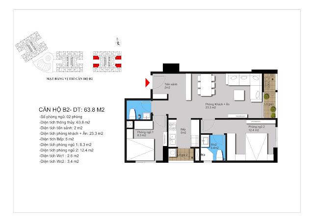 Mặt bằng căn hộ B2 chung cư Apollo