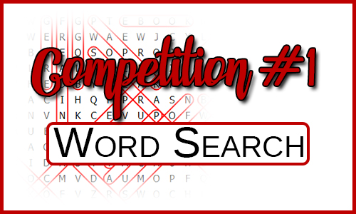 Word Search in the back ground with the titles Competition #1 & Word Search over the top.