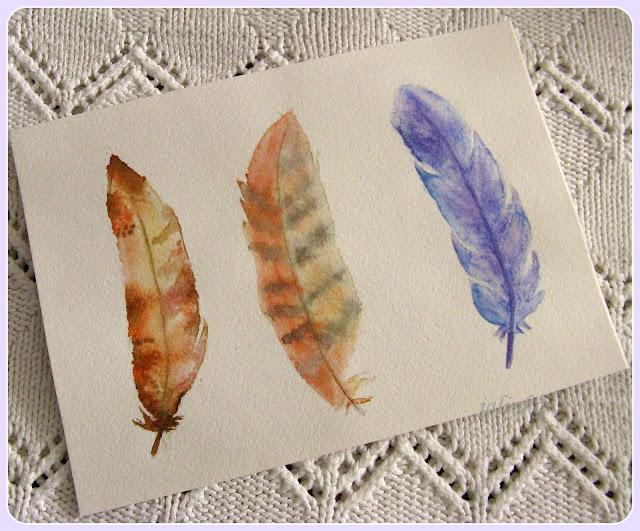 рисунок  акварелью перо  птицы