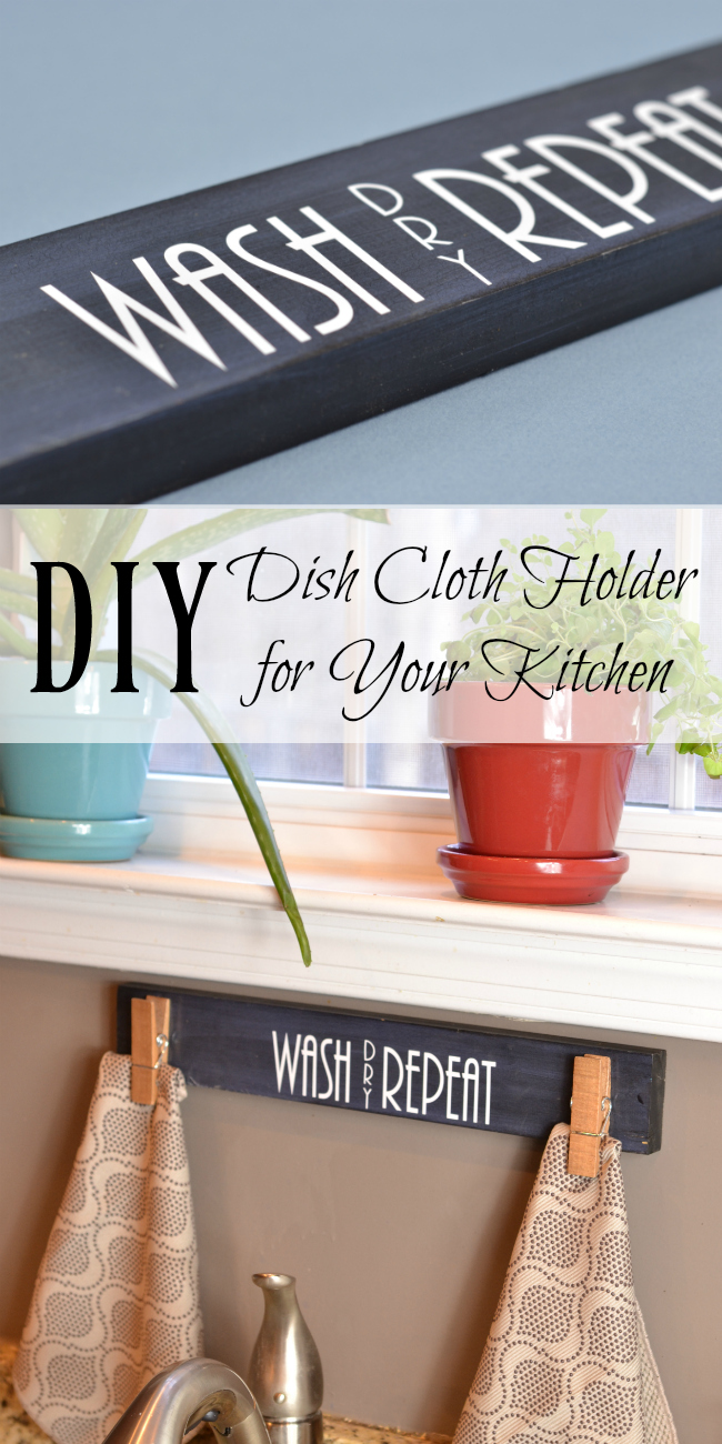 DIY Dish Cloth Hanger for Kitchen