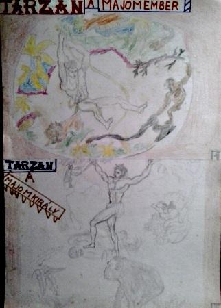 Tarzan a majomember saját rajzok könyvből lerajzolva