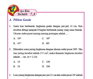 Soal dan Jawaban Ayo Kita Berlatih 7.3 Pilihan Ganda Menentukan Panjang Busur dan Luas Juring Kelas 8