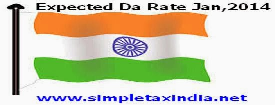 Expected DA rate January ,2014 wef 01 01 2014 will be 100 percent