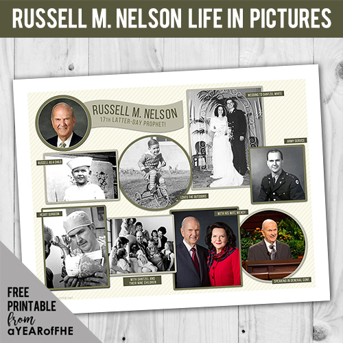A Year of FHE // A free printable of pictures from LDS Prophet President Russell M. Nelson's life.