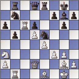 Partida de ajedrez Scheltinga vs. Lladó 1957, posición después de 21…Ce5!
