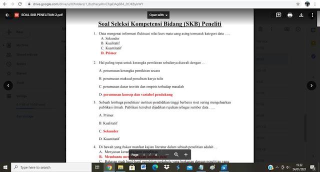 Contoh soal tes P3K Bidang Penelitian dan Jawabannya