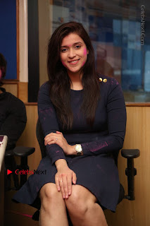 Actress Mannara Chopra Stills in Blue Short Dress at Rogue Song Launch at Radio City 91.1 FM  0065.jpg