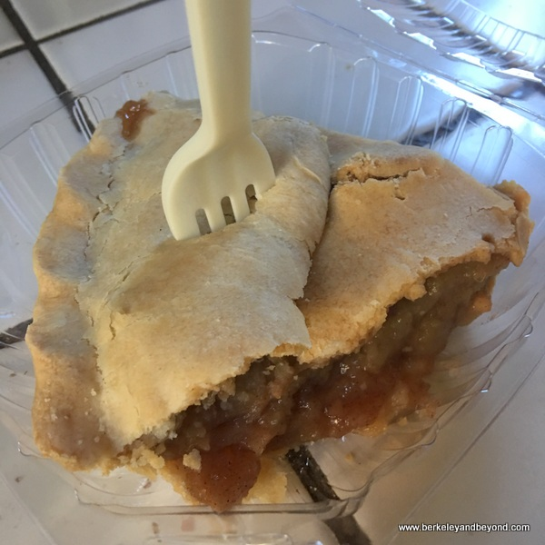 slice of apple pie stabbed with a fork at Mom's Apple Pie in Sebastopol, California