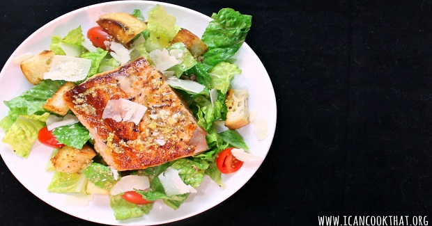 Lemon Salmon Caesar Salad Recipe