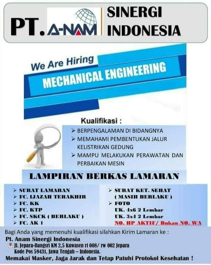 Lowongan Kerja Jepara di PT ANAM Sinergi Indonesia Untuk Posisi Mechanical Engineering