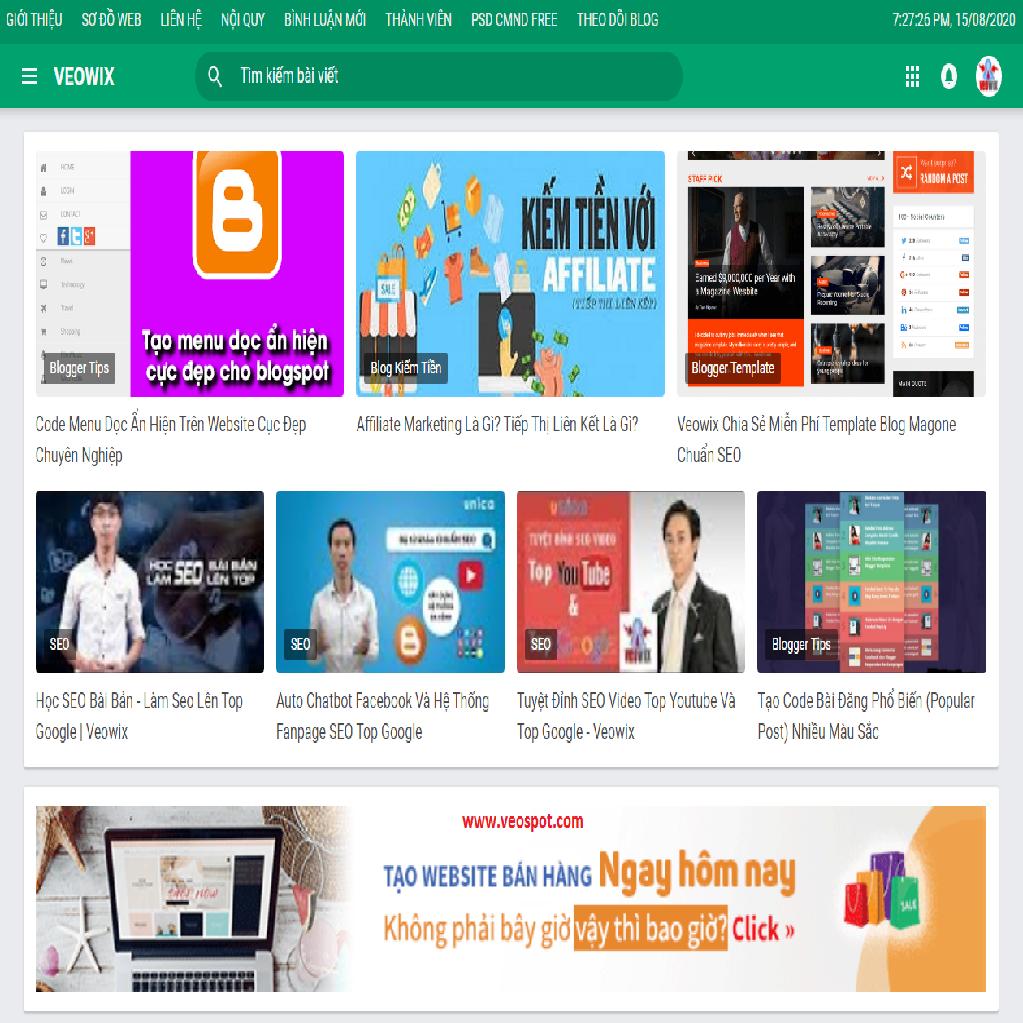 Template blogspot chia sẻ blog cá nhân đẹp chuyên nghiệp chuân SEO