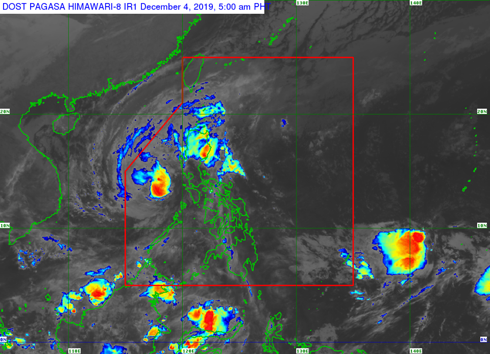 Satellite image of Severe Tropical Storm Tisoy as of 5:00 am, December 4, 2019