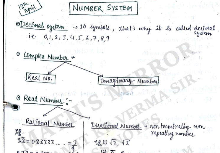 Number System Handwritten Complete Notes PDF Download