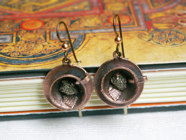 Tiny Teacup Earrings, Pyrite Nuggets, Niobium Ear wires, Recycled Electroformed Copper, Upcycled Vintage Charms