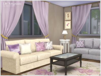 """Lilit livingroom Гостиная """"Лилит """" для The Sims 4 Набор мебели и декора для гостиной в классическом стиле. 4 разных цвета дерева, ткани в мягких сиреневых и бежевых тонах. В набор входят 15 предметов: - 3-х местный диван (5 цветов) - 2-х местный диван (5 цветов) - Комод (4 цвета) - Стол кофейный (4 цвета) - Круглый столик (4 цвета) - Камин (3 цвета) - Настольная лампа (4 цвета) - Резные настенные часы (2 цвета) - настенное зеркало Cardev (2 цвета) - Двойные подушки для диванов (3 цвета) - Подушка (6 цветов) - пионы в вазе (3 цвета) - Коврик (6 цветов) - Картины (от 2 до 6 вариантов цвета) Автор: Severinka_"""