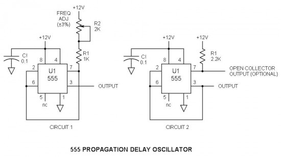 ic 555 propagation delay oscillator