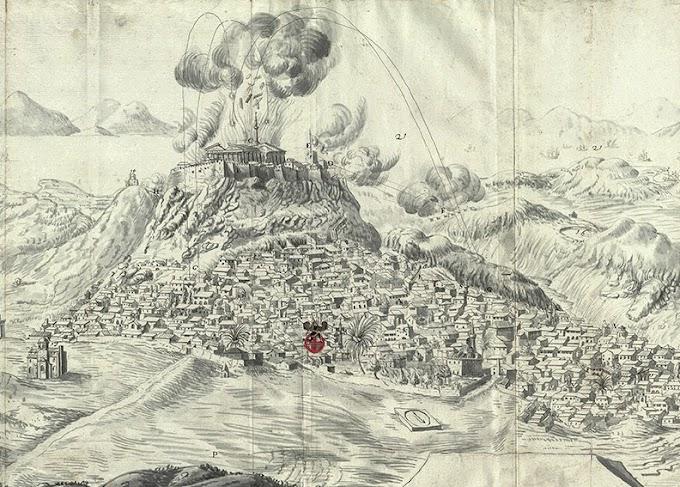 1684-1697 Πολιορκία του Παρθενώνα από το μέρος των λόφων-ΦΩΤΟ.