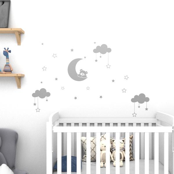 Adesivo de parede para quarto de bebê ursinho nas estrelas