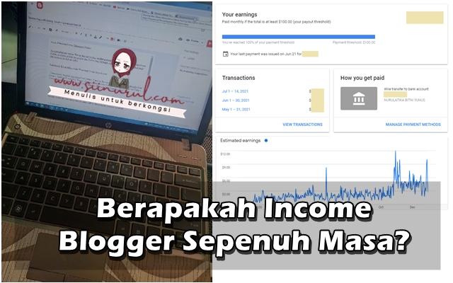 Berapakah Income Blogger Sepenuh Masa?