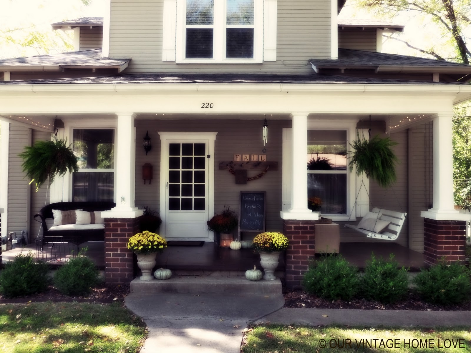 Vintage home love fall porch ideas for How long does it take to build a new house