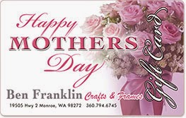 Ben Franklin Gift Card Sale - 20% off. Great mother's day gift!