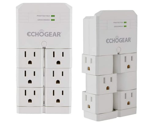 ECHOGEAR On-Wall Surge Protector with 6 Rotating AC Outlets