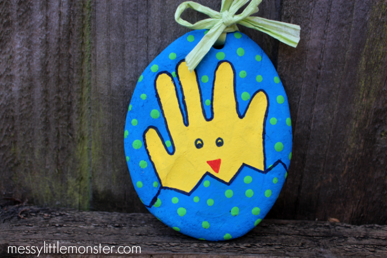 Easter handprint - salt dough handprint chick in an Easter egg
