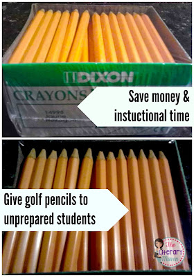 An inexpensive, no sharpener needed option for students who do not come to class prepared with a writing utensil is handing out golf pencils.