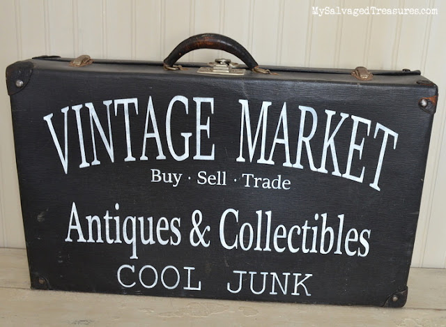 old suitcase vintage market sign