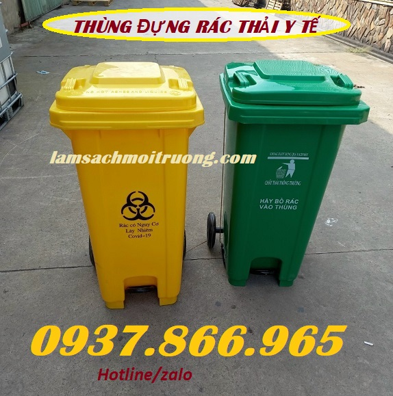 Thùng rác Y tế 660 lít, thùng đựng rác thải nguy hại, thùng rác sử dụng trong bệnh viện